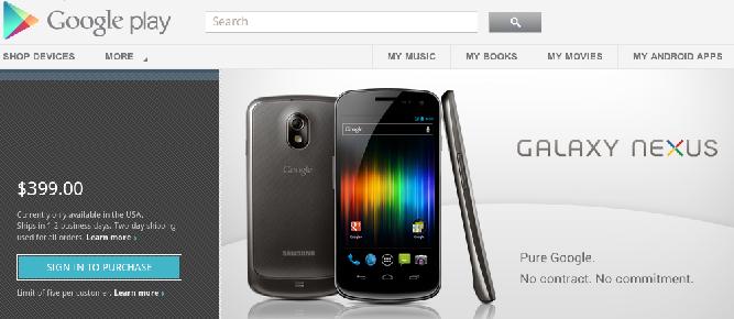 Google rozpoczyna sprzedaż Galaxy Nexusa w Google Play i rzuca rękawicę amerykańskim operatorom