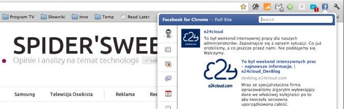 Facebook jako rozszerzenie do przeglądarki Chrome