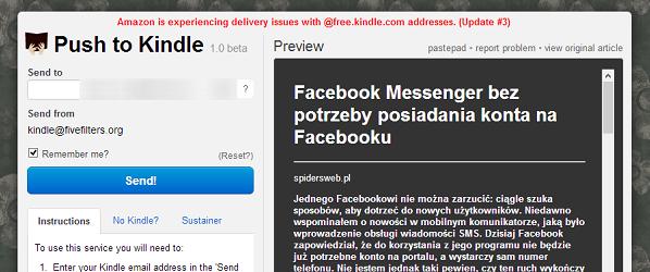 Wysyłanie treści na Kindle. Problemy po stronie Amazonu