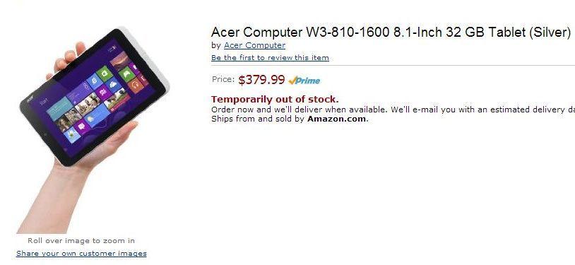Mały tablet z Windowsem 8 pojawia się i znika z Amazonu