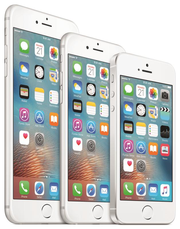 Rodzina ttelefonów Apple: iPhone 6s Plus, iPhone 6 oraz nowy iPhone SE