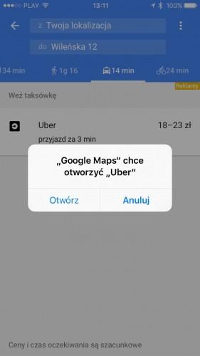 Wsparcie Ubera w Google Maps na iOS