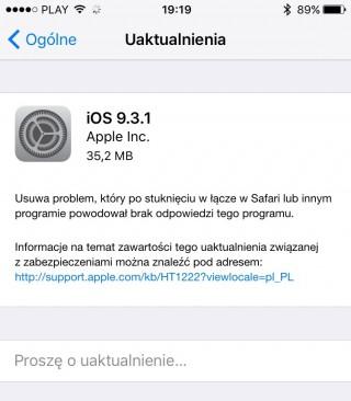 iOS 9.3.1 rozwiązuje problem z otwieraniem linków w Safari