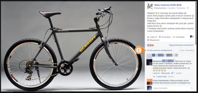 """Fałszywy konkurs """"Sklepu rowerowego EURO BIKE"""" cieszy się ogromną popularnością."""