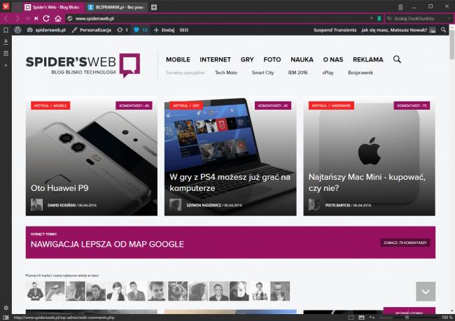 Przeglądarka Vivaldi: kolor interfejsu zmieniony zależnie od wyświetlanej witryny