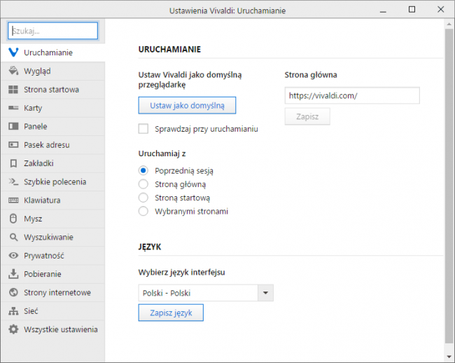 Przeglądarka Vivaldi: ustawienia programu