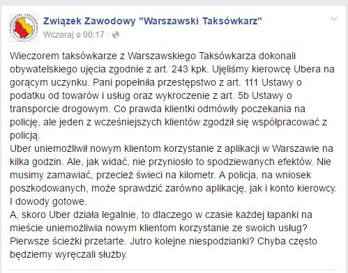 """Związek Zawodowy """"Warszawski Taksówkarz"""" kontra UBER"""