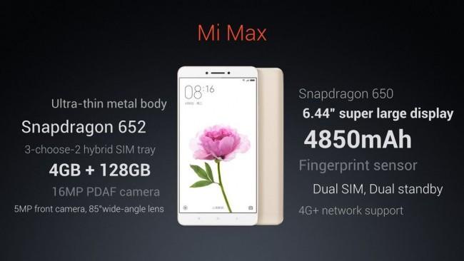 Xiaomi Mi Max specyfikacja