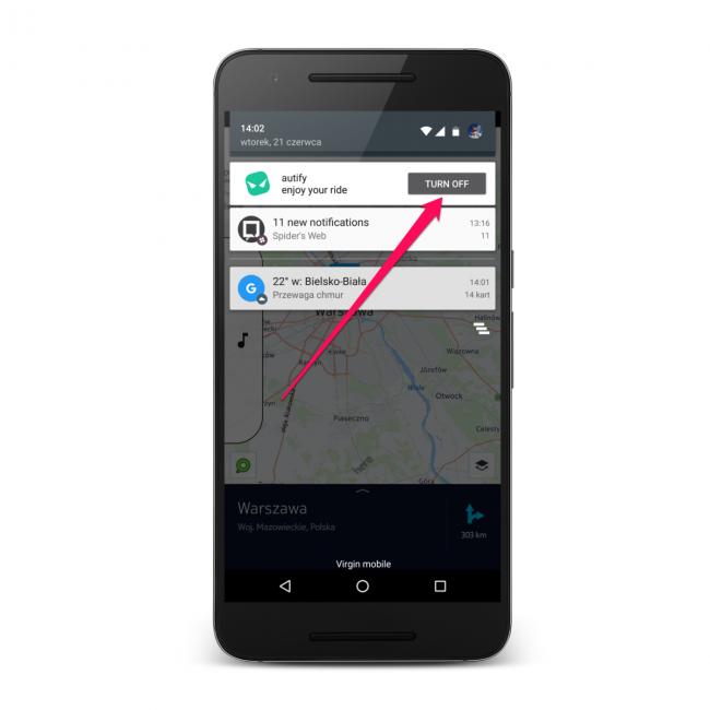 Aplikacja Autify: na pasku powiadomień wyświetla się przycisk, którym wyłączymy aplikację, gdy nie będzie już potrzebna