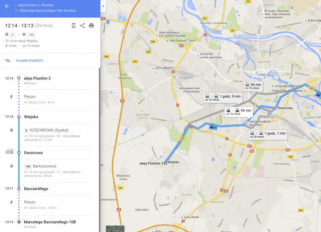 Google Maps Transport Publiczny