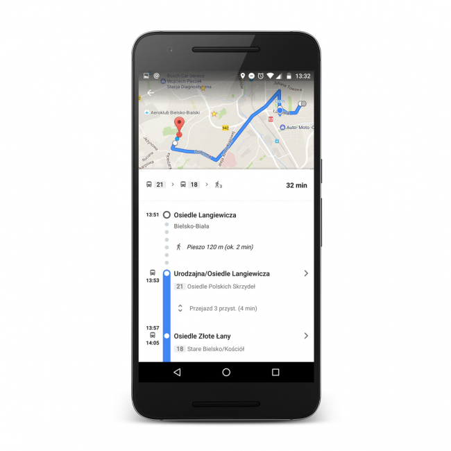 Google Transit w Polsce: poprawnie wyznaczona trasa wykorzystująca transport publiczny