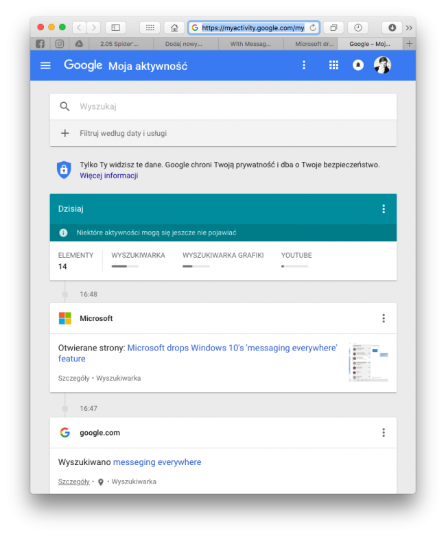 Moja aktywność Google