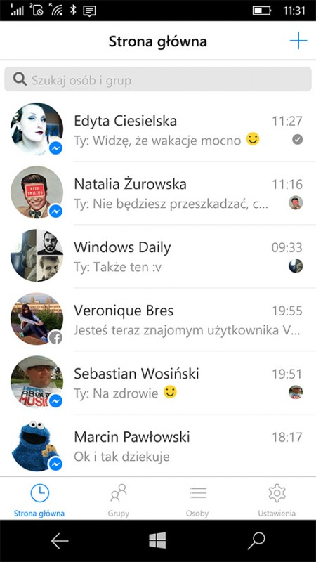 Nowy Messenger na Windows 10