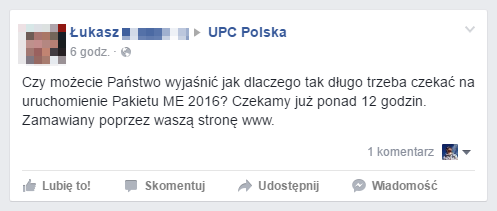 Euro 2016 w UPC Polska: jeden z wielu podobnych komentarzy na Facebooku firmy