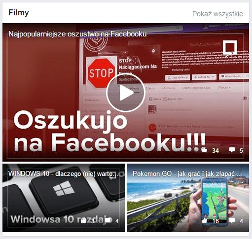Zmiany na Facebooku: teraz na samej górze strony wyświetla się folder z materiałami wideo.