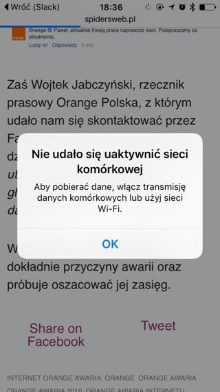Orange awaria 2016: taki komunikat widzą klienci Orange, u których sieć nie działa poprawnie