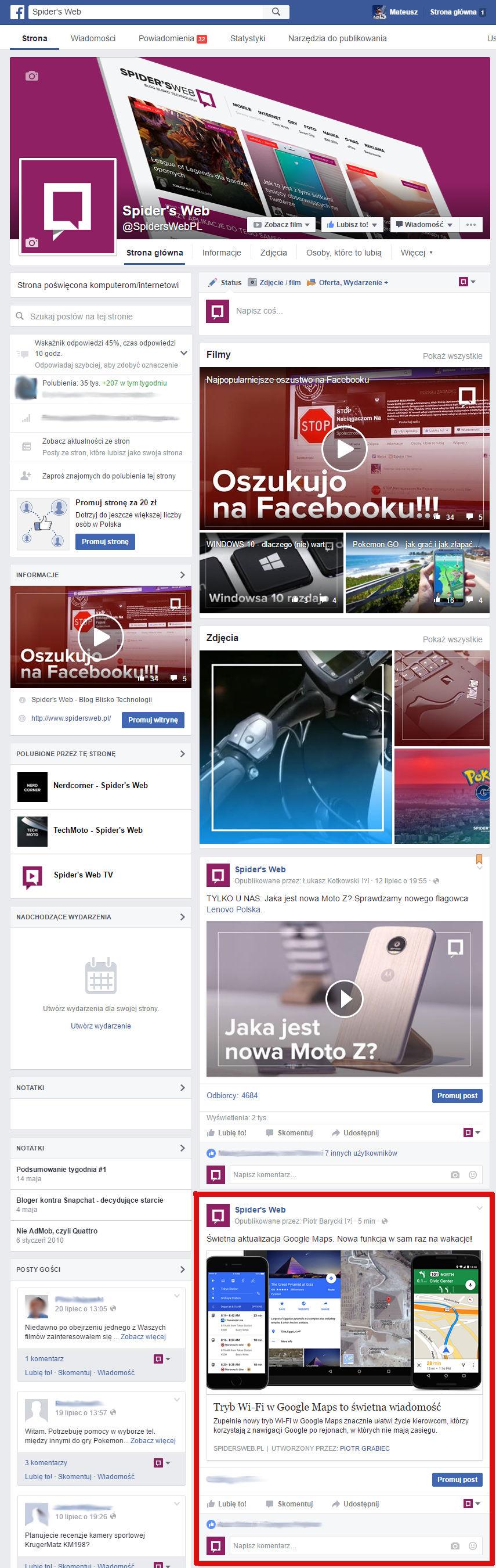 Zmiany na Facebooku: taaaaak nisko spadły aktualności na stronie.