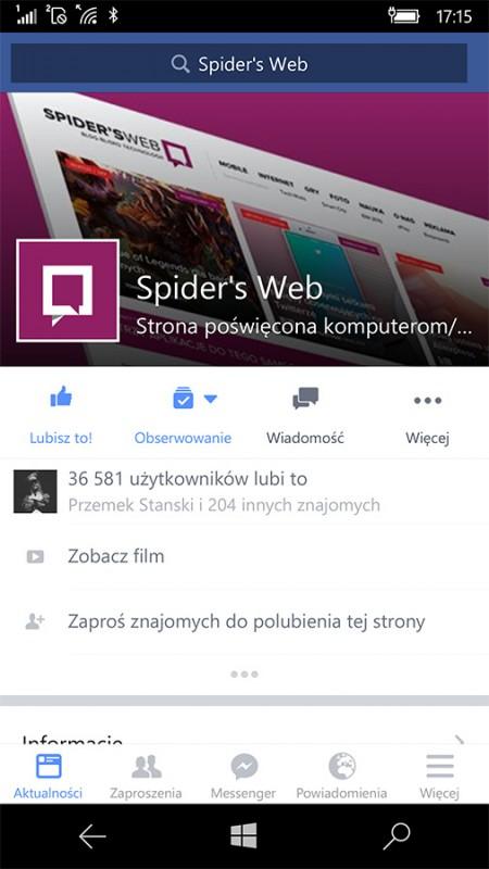 Facebook na Windows 10 Mobile