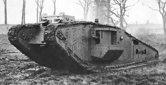 Mark IV: https://en.wikipedia.org/wiki/Mark_IV_tank#/media/File:British_Mark_IV_Tadpole_tank.jpg