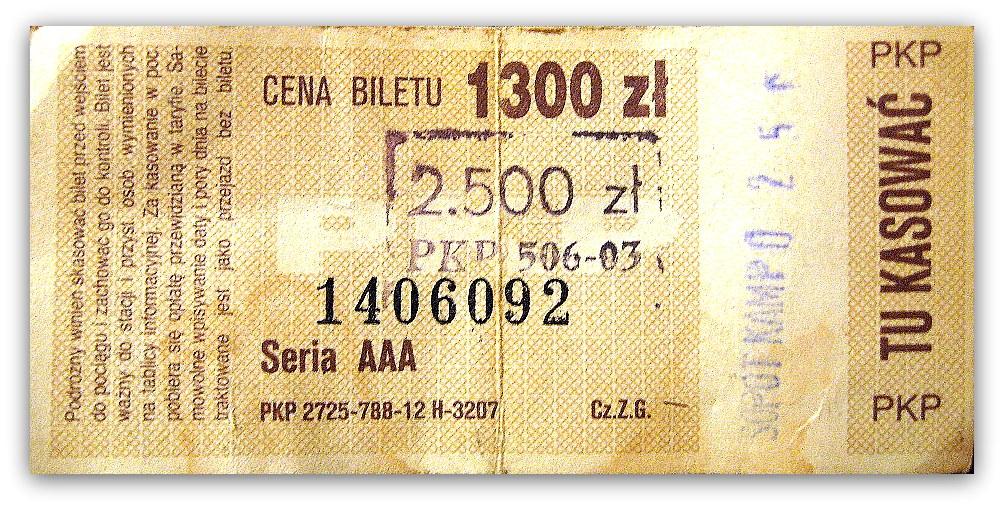Bilet Trójmiejskiej SKM sprzed denominacji (z przebitą ceną) pokazuje Wam, że ceny kiedyś były zupełnie inne. Autor Tomasz Sienicki