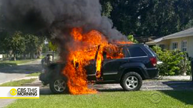 Samsung Galaxy Note 7 zapalił się, a razem z nim cały samochód - źródło: cbsnews.com