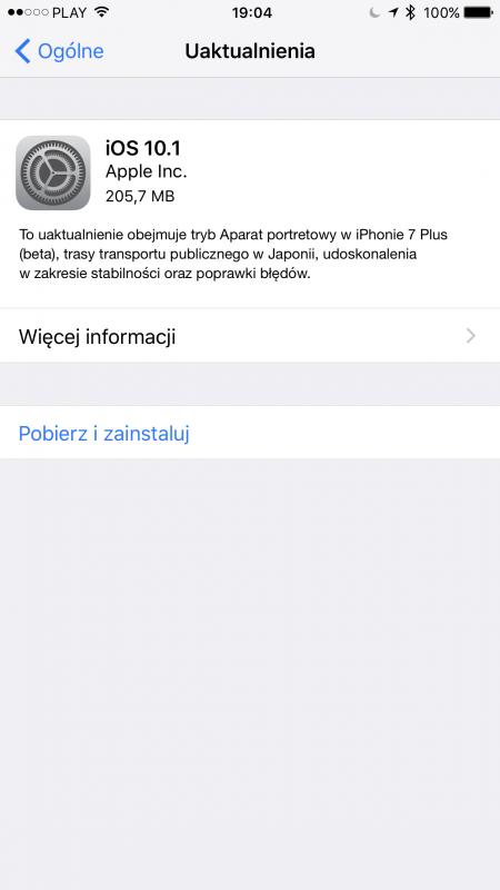 iOS 10.1 iPhone 7 Plus