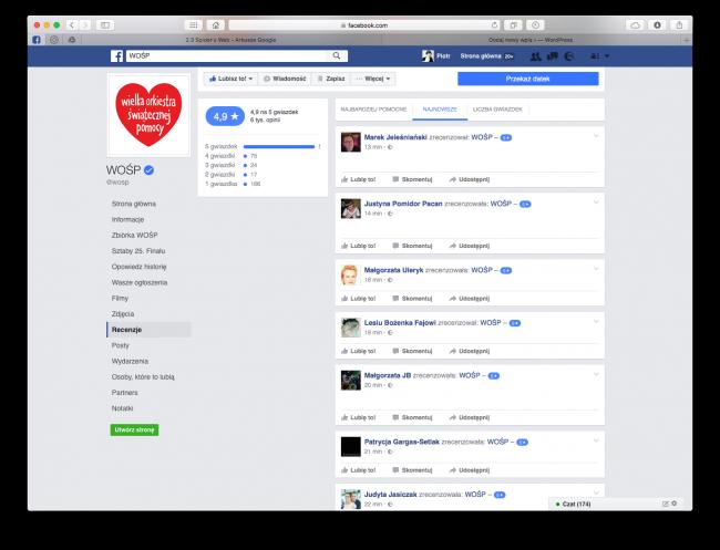 WOŚP na Facebooku