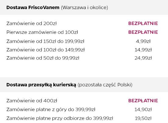 Koszt dostawy Frisco