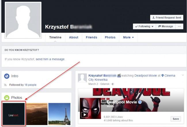 Rzut ekranuz profilu B.na Facebooku pokazujący informację o LineHost.