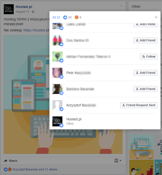 Zrzut ekranu z profilu Hosted na Facebooku