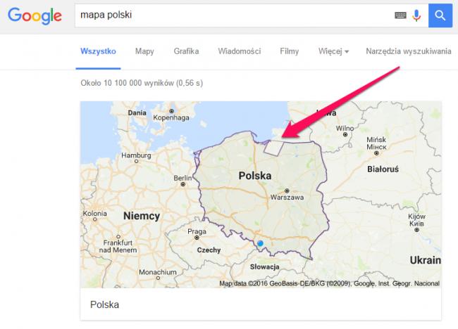 Mapa Polski w Google Maps.