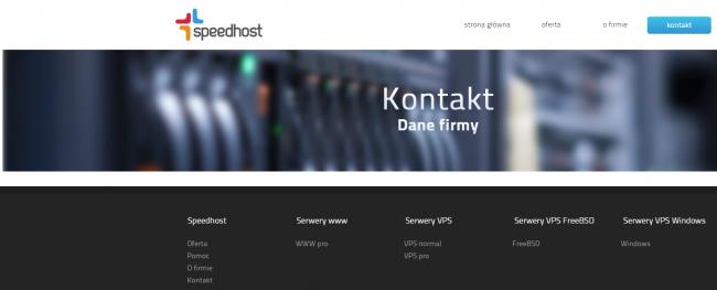 Screenshot ze strony http://speedhost.pl/