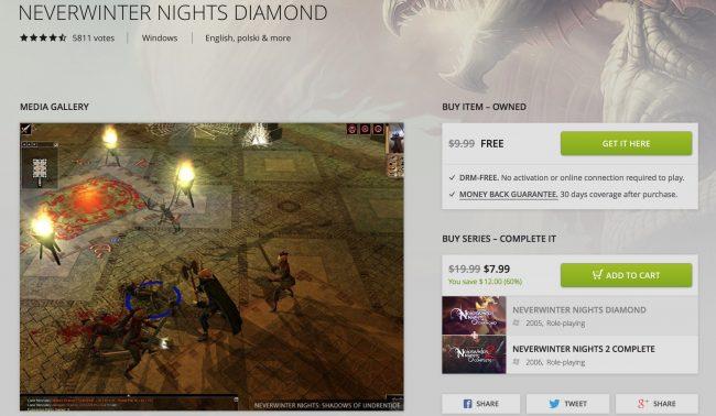 Neverwinter Nights za darmo na Good Old Games