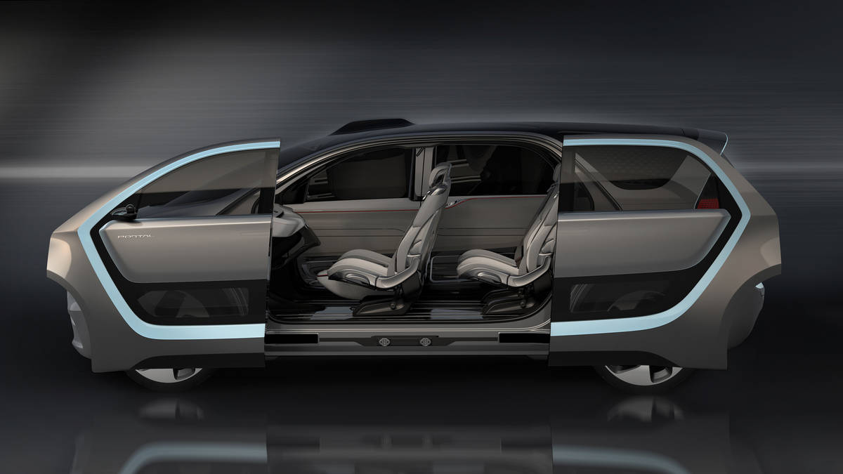 Chrysler Portal Concept portal-shaped side-openings, with articulating front and rear doors