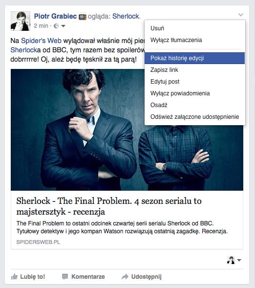 Facebook Edycja Wpisu posta