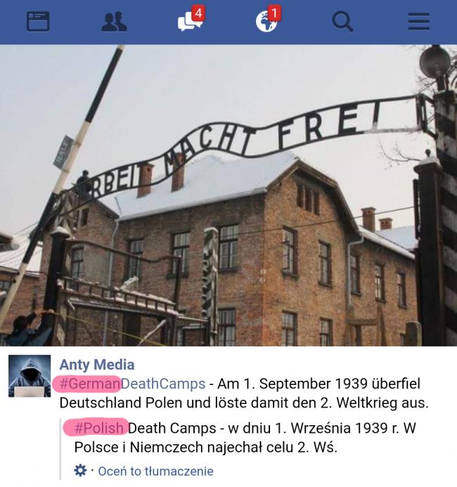 Polskie obozy śmierci na Facebooku