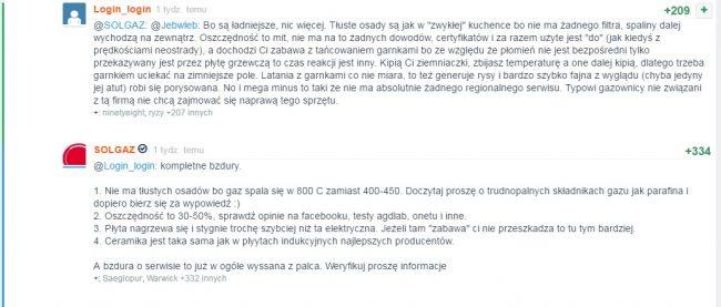 Opinia o płytach marki Solgaz - zrzut ekranu z Wykopu