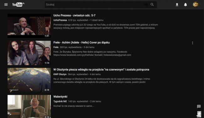 YouTube tryb nocny material design