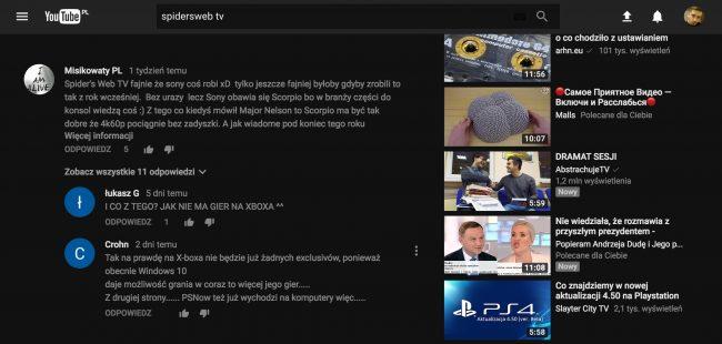 YouTube tryb nocny material design5
