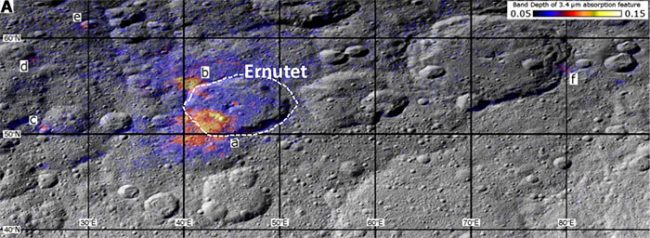 Związki organiczne odkryto na terenie krateru Ernutet. Źródło: NASA