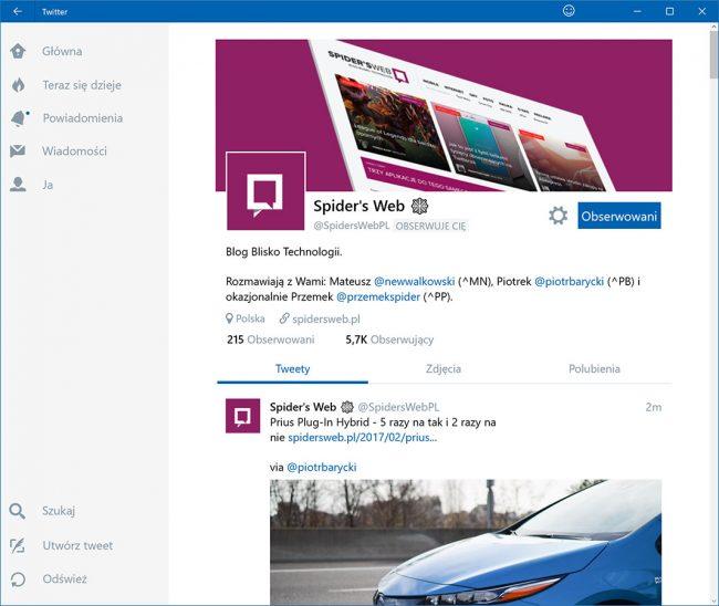 Twitter karty Windows 10