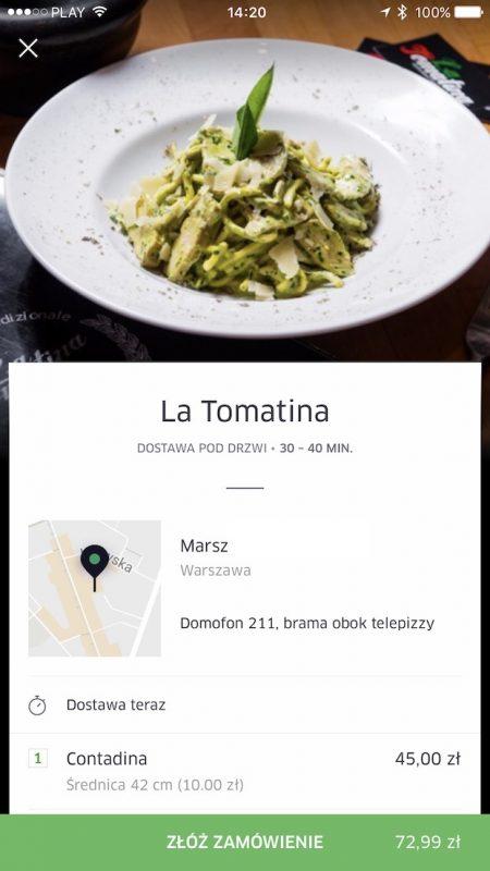 uber eats jedzenie online dowoz aplikacja warszawa