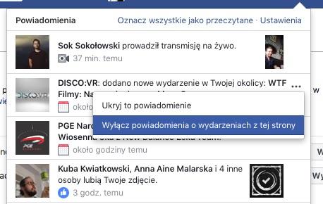 Powiadomienia o wydarzeniach na Facebook jak wyłączyć