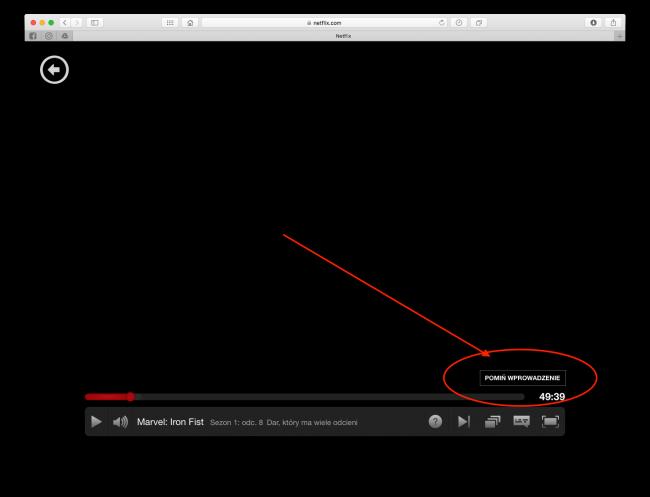 netflix pomiń wprowadzenie intro przycisk