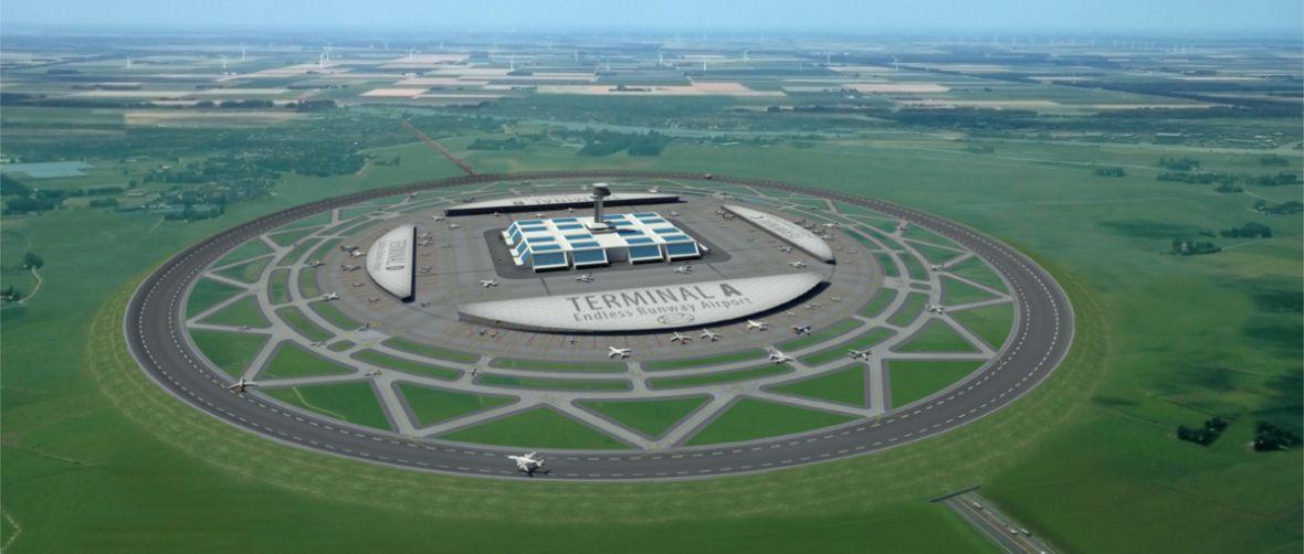 Lotnisko z pasem startowym na planie koła to szalony pomysł, który… może mieć sens