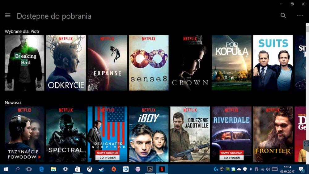 Tryb offline w aplikacji Netflix na system Windows 10