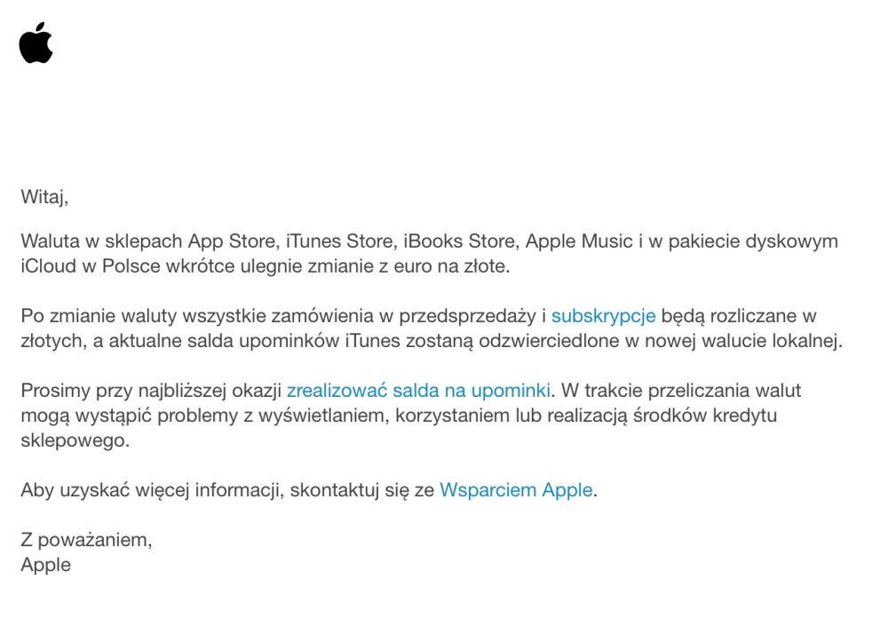 App Store, iTunes - zmiana waluty z euto na polskie złote