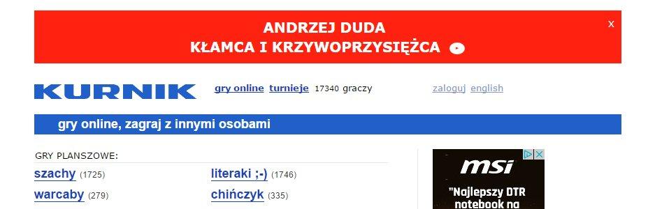 Banner reklamowy atakujący Andrzeja Dudę - zrzut ekranu ze strony Kurnik.pl
