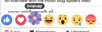 kwiatek na facebooku reakcja
