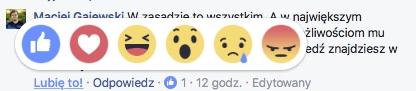 Facebook wprowadził reakcje w komentarzach